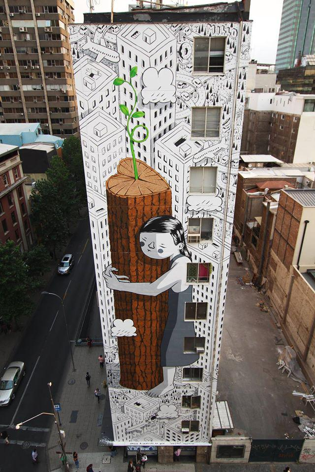 """Millo """"Never give up"""" murales"""